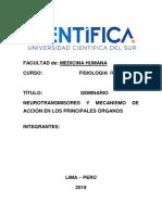 SEMINARIO  NEUROTRANSMISORES Y MECANISMO DE ACCIÓN EN LOS PRINCIPALES ÓRGANOS