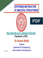 Stiffness method for skeletal structures