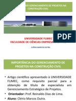 Apresentação TCC Gerenciamento de Projetos -Engº Clério M. Dutra