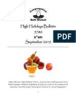 high holidays bulletin and schedule 5780