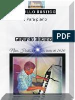 PASILLO RUSTICO. Para piano.  Por Gerardo Betancourt.