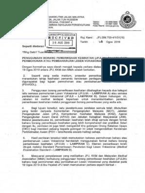 Penggunaan Borang Pemeriksaan Kesihatan Jpjl8a Baharu Bagi Permohonan Atau Pembahruan Lesen Vokasional 20hb Ogos 2019