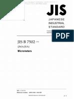JIS B 7502-2016 Micrometers