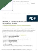 Windows 10_ Deshabilitar El Uso Obligatorio de Controladores Firmados