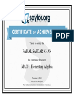 Course Completion Certificate MA001 Elementary Algebra