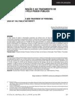 Acesso a Informação e Ao Tratamento de Dados Pessoais Pelo Poder Público