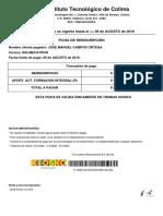 Ficha de pago del alumno José Manuel Campos Ortega