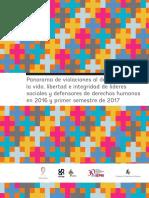 Panorama de Violaciones a Lideres y Defensores 2016-2017