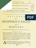 Novo Testamento Almeida 1693 - Epístola de Paulo Aos Hebreus