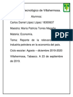 Reporte de la relevancia del petroleo