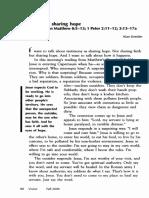 Alan Kreider - Testimony as Sharing Hope, A Sermon on Matthew 8 Vv 5 a 13