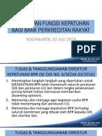 Penerapan Fungsi Kepatuhan BPR