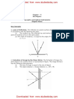 CBSE Class 12 Physics Notes - Ray Optics and Optical Instruments