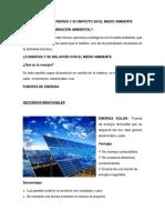 Fuentes de Energía y Su Impacto en El Medio Ambiente