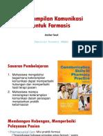 1. Keterampilan Komunikasi Untuk Farmasis