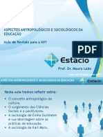 Estácio UNESA Cel0466 Aspectos Antropológicos e Sociológicos Da Educação  revisaoav1