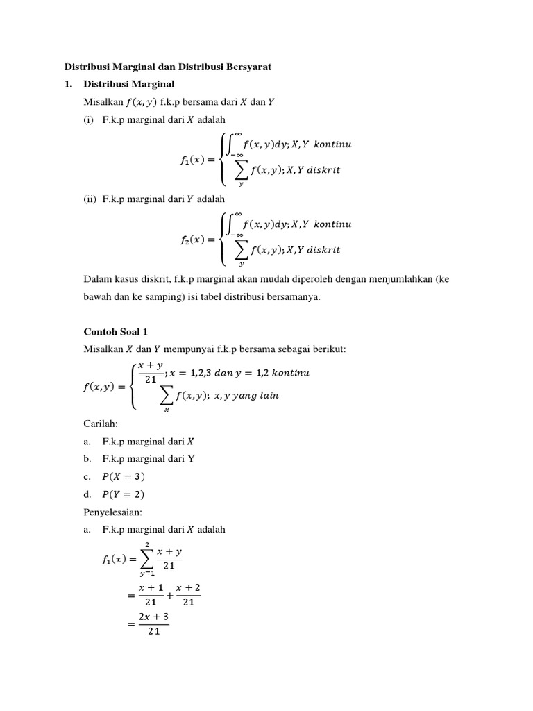Contoh Soal Dan Jawaban Probabilitas Marginal Ilmusosial Id