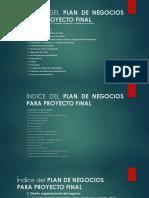 Índice Del Plan de Negocios Para Proyecto Final