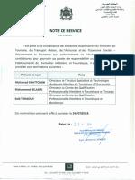note de service - Ministère du tourisme