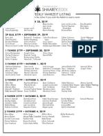September 28, 2019 Yahrzeit List