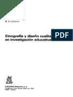 Goetz J P Y Lecompte M D - Etnografia Y Diseño Cualitativo en Investigacion Educativa