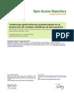 Tendencias Gastronómicas Predominantes en La Producción de Revistas Científicas en Iberoamérica