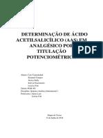 Relatorio sobre Determinação do Teor de ácido Acetilsalisílico por Titulação Potenciometrica