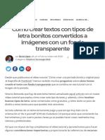 Cómo Crear Textos Con Tipos de Letra Bonitos Convertidos a Imágenes Con Un Fondo Transparente