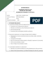 Informe Mensual de Practicas Pre Profesionales