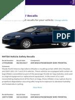 2010 Mazda CX-7 Recalls