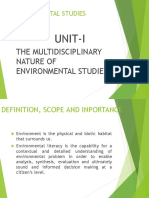 Multidisciplinary nature of environmental studies