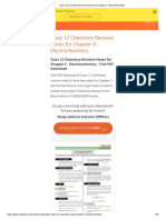 Class 12 Chemistry Revision Notes for Chapter 3 - Electrochemistry