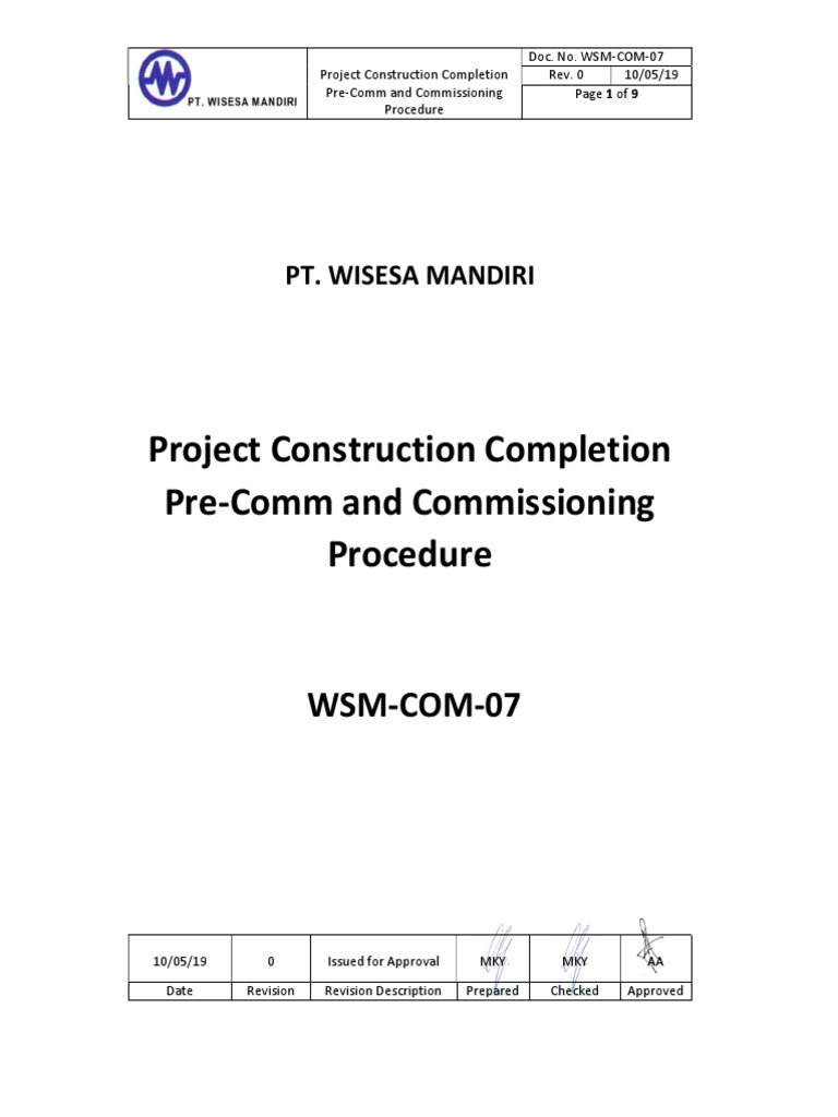 WSM 07 Project Construction Pletion Pre M And