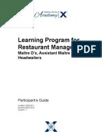 Restaurant Management Learning Program