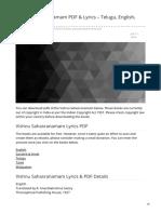 Patheos.com-Vishnu Sahasranamam PDF Amp Lyrics Telugu English Hindi Tamil