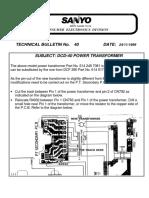 Sanyo Tb40 Dcd40 Power Transformer Bulletin