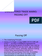 6 Unregistered Trade Marks- Passing Off