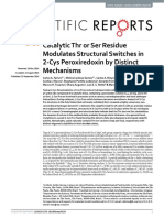 Catalytic Thr or Ser Residue Modulates Structural Switches in 2-Cys Peroxiredoxin by Distinct Mechanisms
