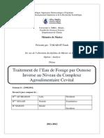 Traitement de l'Eau de Forage Par Osmose Inverse Au Niveau Du Complexe Agroalimentaire Cevital