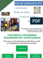 Medios de Cultivo- Requerimientos Nutricionales - Enfermeria 2019