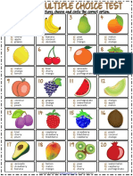 Fruits Vocabulary Esl Multiple Choice Tests for Kids