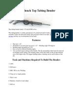 DIY Bench Top Tubing Bender
