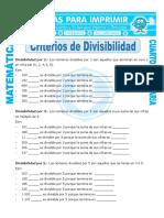 Ficha Cuales Son Los Criterios de Divisibilidad Para Cuarto de Primaria