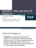 Types of Disability and the role of social worker in the field.