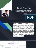 Tilak Mehta Entrepreneur