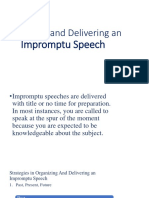 Organizing and Delivering Impromptu Speech