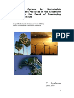 Potential Options for Sustainable Development Practices in the Electricity System in the Event of Developing Jaffna Peninsula
