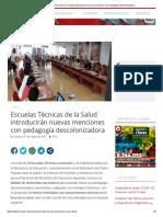 Escuelas Técnicas de La Salud Introducirán Nuevas Menciones Con Pedagogía Descolonizadora