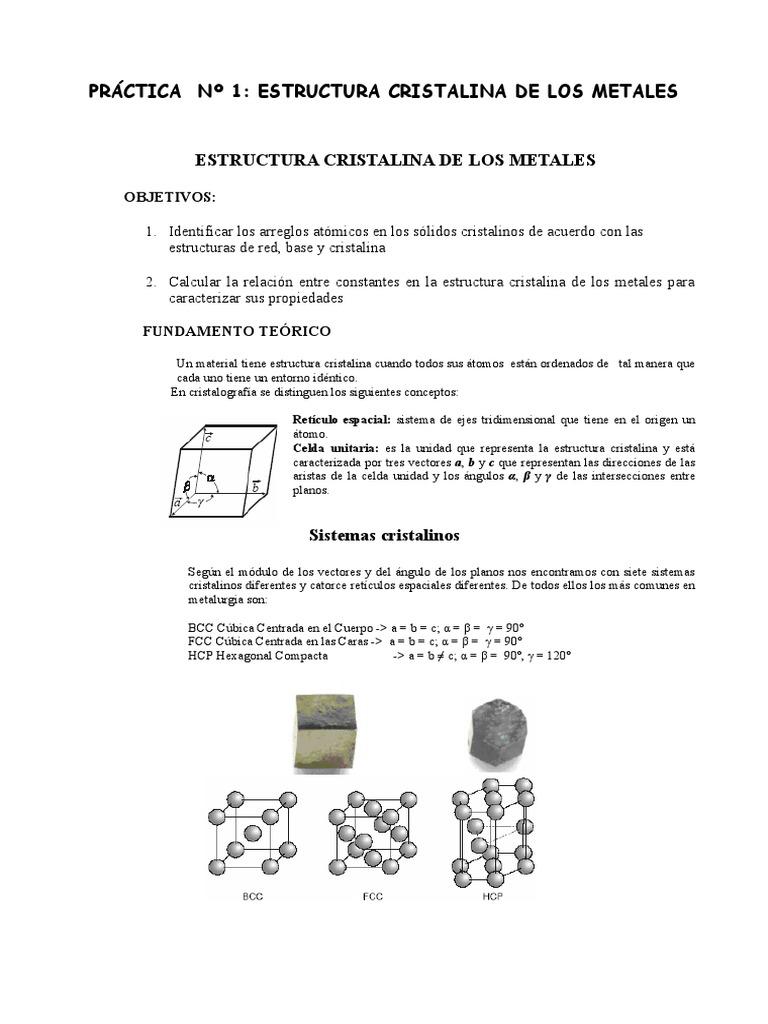 Practica N 1 Estructura Atómica Y Cristalina De Los Metales