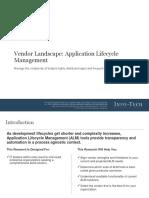 Vendor Landscape ALM Tool Selection